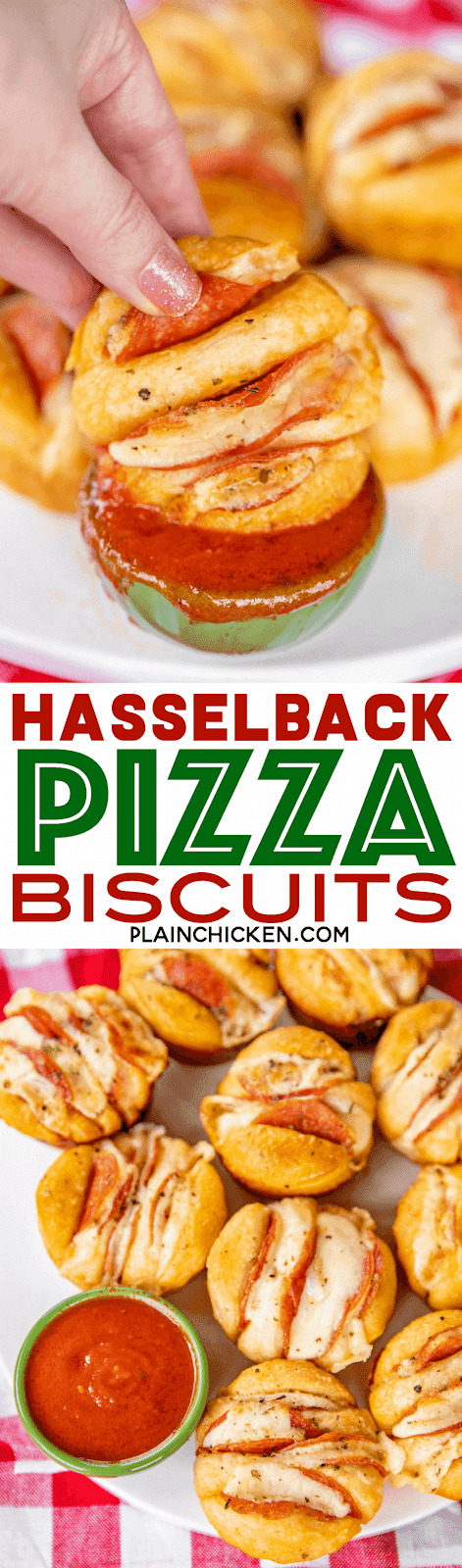 Hasselback Pizza Biscuits - a fun twist to pizza night!!! Refrigerated biscuits stuffed pepperoni and cheese and brushed with garlic butter. Dip in warm pizza sauce. SO good! Great for parties, lunch, dinner, or afternoon snack. SO easy to make and everyone LOVES them!! #pizza #pepperoni