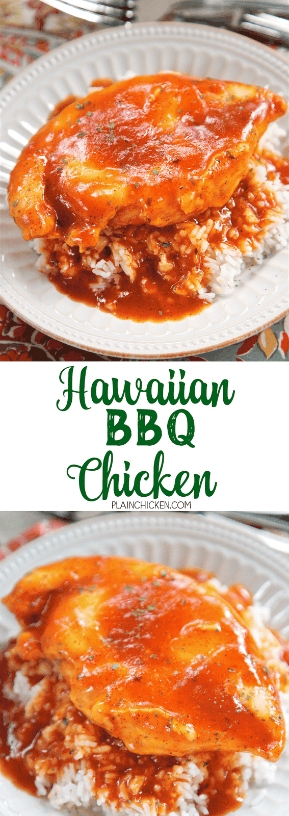 Hawaiian BBQ Chicken - chicken breasts baked in a quick pineapple bbq sauce. Pineapple sauce, ketchup, soy sauce, Worcestershire, vinegar, chili powder, and cornstarch. Bring to a boil and pour over the chicken then bake. No prep work! Super easy and quick recipe! Serve over rice or noodles - make sure to pour the extra bbq sauce over the chicken - it is SOOOO good! We could not stop eating this!