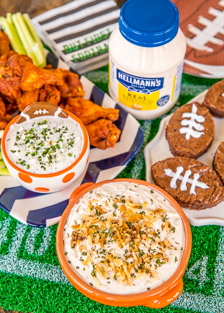 3 Easy Game Day Snacks made with Hellmann's/Best Foods Mayonnaise. 3 Ingredient Creamy Onion Dip, Blue Cheese Ranch Dip and Mayonnaise Brownies! All recipes can be made in advance. SO simple and SOOO delicious!! One big game day. One big jar. One big throw down!