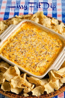 baking dish with dip and chips