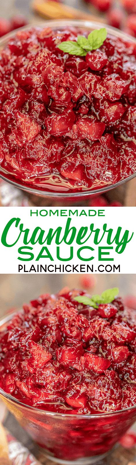 Homemade Cranberry Sauce - a million times better than the canned stuff. Can make ahead and refrigerate until ready to serve. Got the recipe from my childhood neighbor. Cranberries, apples, orange, cinnamon, sugar, pecans, ginger, cloves and orange juice. Hands-down the BEST cranberry sauce I've ever eaten. A MUST for your holiday meal! #cranberrysauce #holidaysidedish