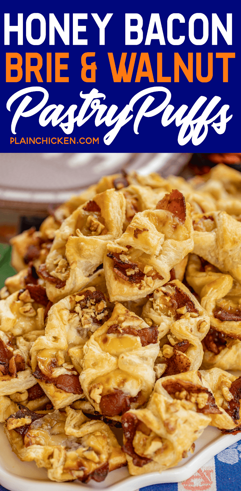 Honey Bacon Brie and Walnut Pastry Puffs recipe - sweet and salty goodness!!! The flavor combination is totally addicting. Can make the bites ahead of time and refrigerate or freeze until ready to bake. Great for all your holiday parties and tailgating!! You might want to double the recipe - these pastry puffs don't last long!! #appetizer #tailgating #brie #bacon