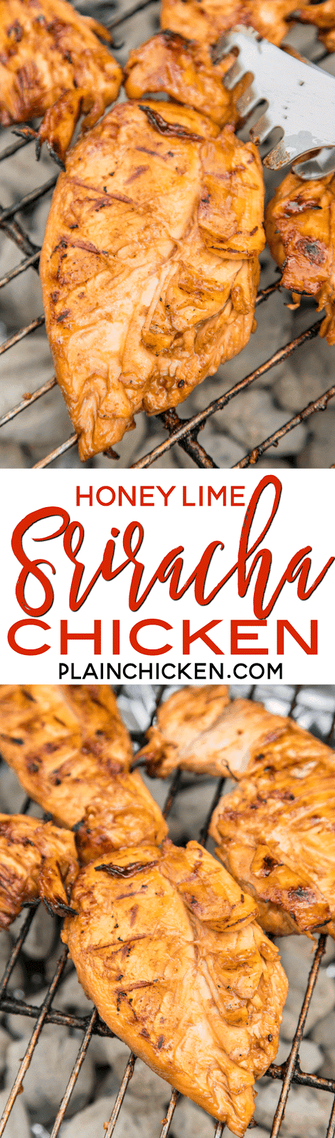 Honey Lime Sriracha Chicken Recipe - chicken marinated in honey, soy sauce, Worcestershire, garlic, lime and Sriracha - Let the chicken marinate for at least 4 hours and then grill to perfection. Sweet with a little heat! One of our favorite grilled chicken recipes!