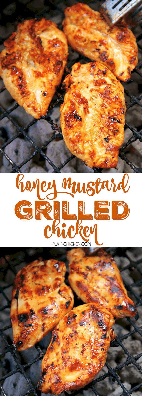 Honey Mustard Grilled Chicken - only 5 ingredients in the marinade! Honey, dijon mustard, lemon juice, soy sauce and garlic. SO simple and delicious! Everyone cleaned their plate! Can also use the marinade on pork