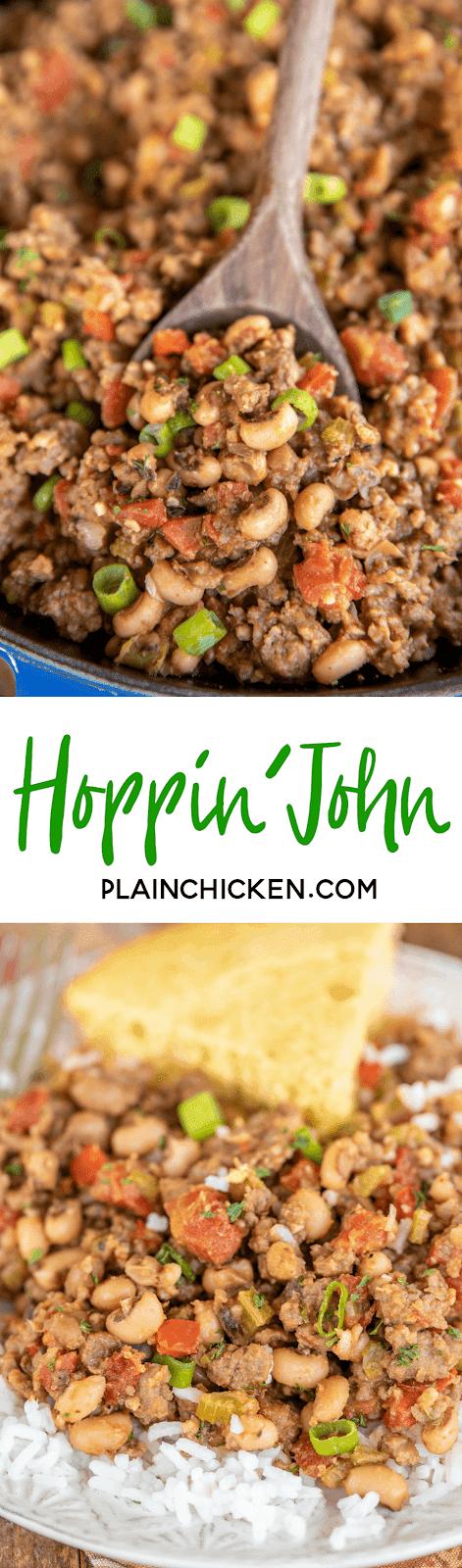 collage of 2 photos of hoppin' john