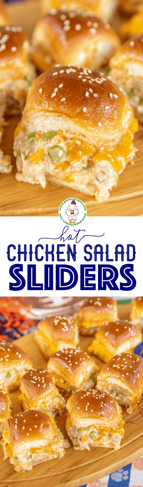 collage of 2 photos of chicken salad sliders