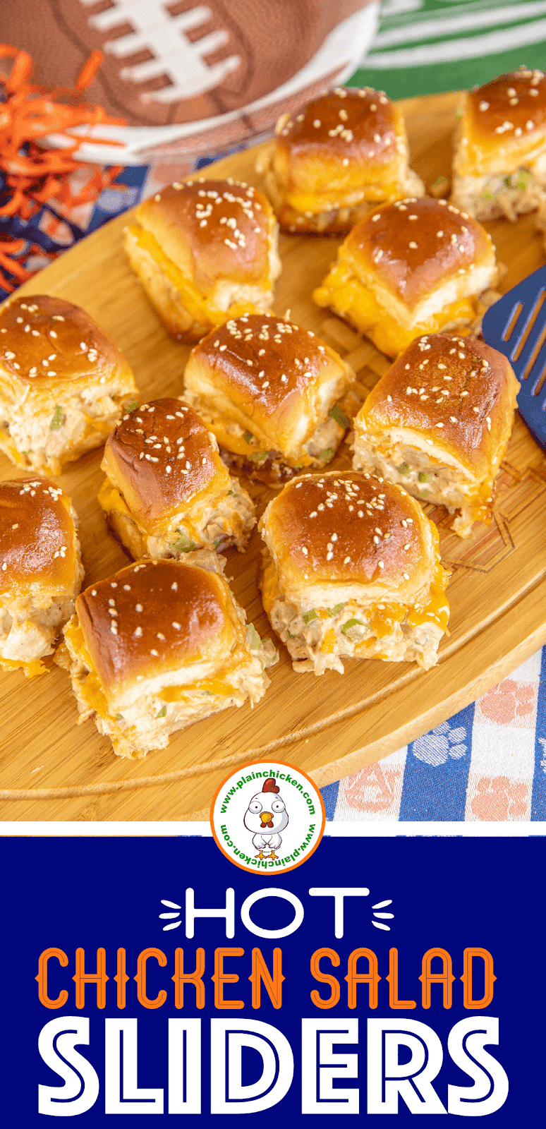 chicken salad sliders on a platter