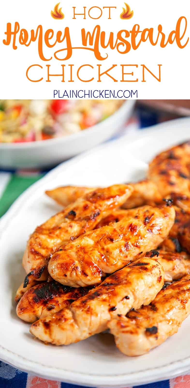 Hot Honey Mustard Chicken - only 4 ingredients including the chicken! Honey, mustard, hot sauce and chicken. Can grill or cook on the stove. This chicken is CRAZY good! Sweet with a little heat! Great for a crowd and tailgating!