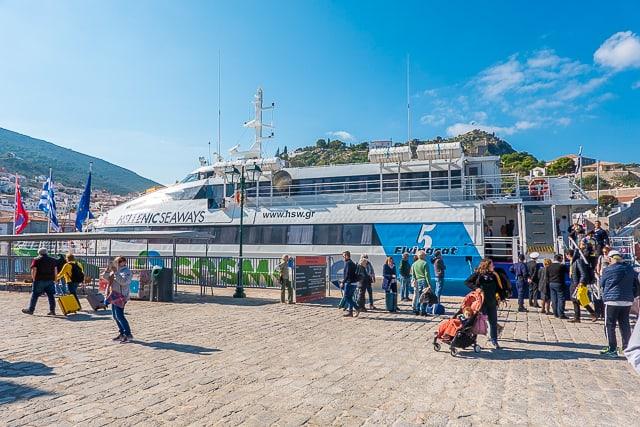 Speed boat in port of Hydra Greece
