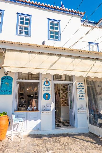Ice cream shop Port of Hydra Greece