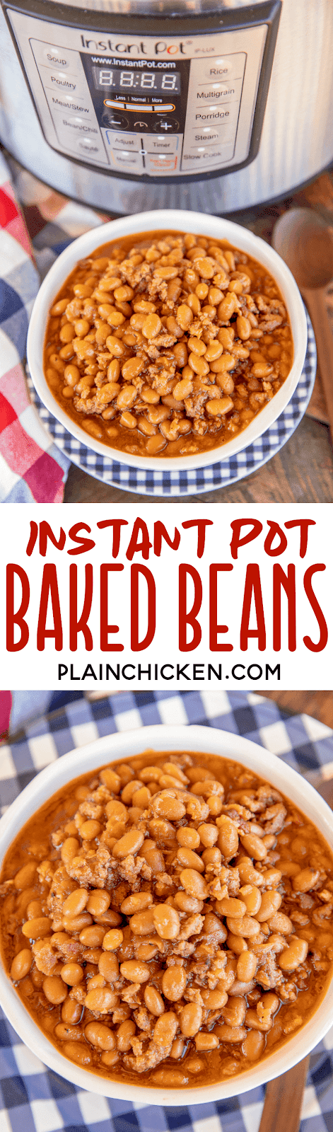 baked beans in a bowl next to an Instant Pot