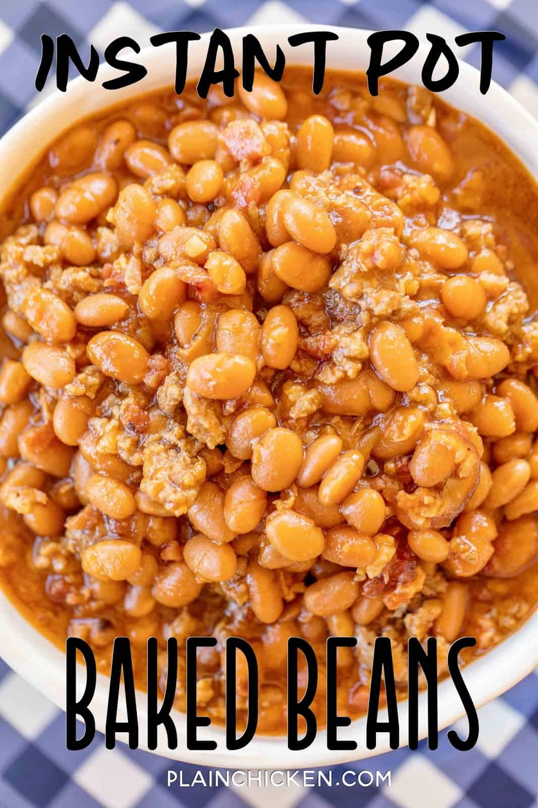 baked beans with ground beef and bacon in a bowl