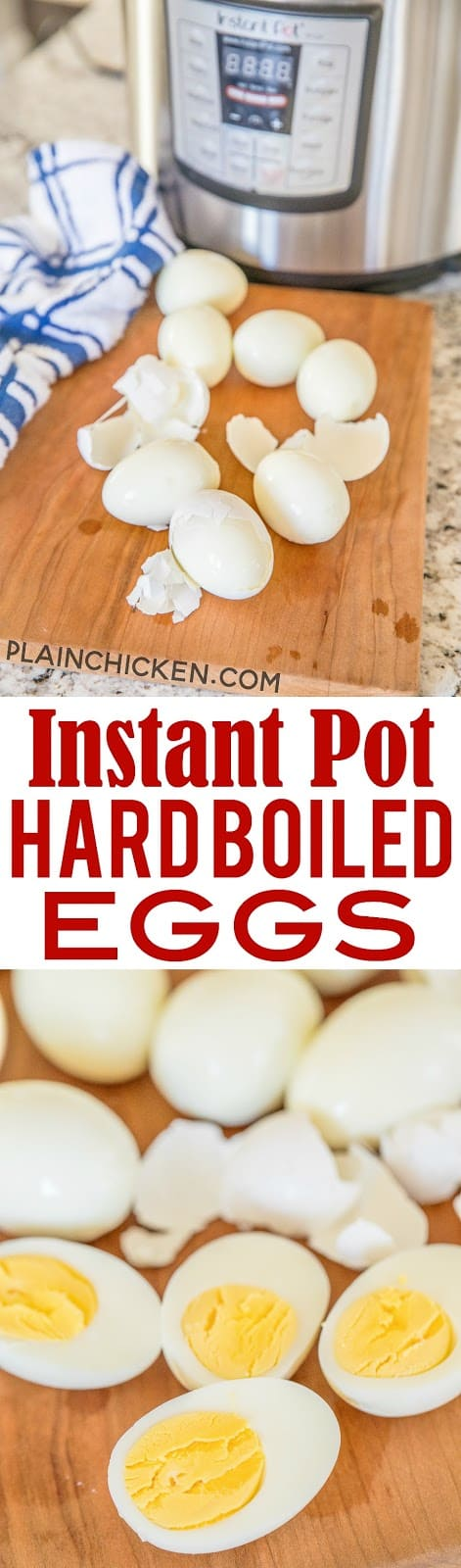 Instant Pot Hard Boiled Eggs - perfect eggs every single time! The shells come right off! No more dimpled eggs!! Great for all your Easter egg dying. #InstantPot #eggs #hardboiledeggs