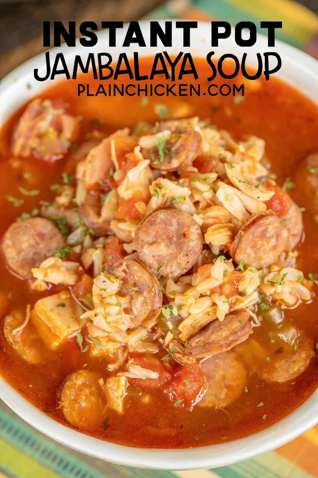 Instant Pot Jambalaya Soup - perfect for Mardi Gras!!! Smoked Sausage, Chicken, chicken broth, diced tomatoes and green chiles, tomato paste, Creole seasoning, and brown rice. Serve with some homemade cornbread for an easy and delicious meal! Our whole family LOVED this yummy cajun/creole soup. SO easy to make in the electric pressure cooker! #instantpot #pressurecooker #mardigras #soup #stew