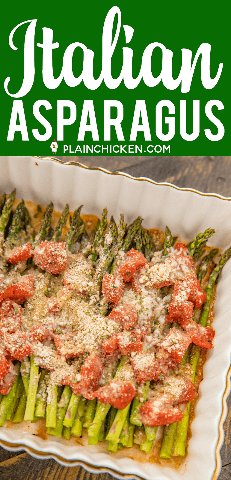 Italian Asparagus - our favorite asparagus recipe!! Such an easy side dish!! Fresh asparagus, diced Italian tomatoes, garlic salt, pepper, Italian seasoning, parmesan and bread crumbs. SO easy! Ready to eat in under 30 minutes! Goes with everything - chicken, pork, steak, casseroles, pasta. Great for an easy weeknight side dish, cookouts and dinner parties. SO good! #asparagus #sidedish #vegetable