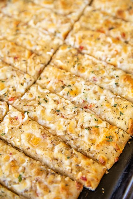 pan of sliced cheese bread