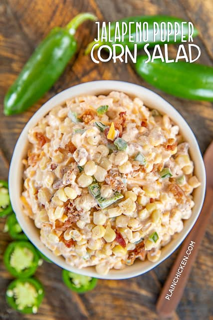 corn salad in a bowl with jalapenos