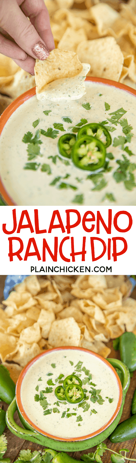 collage of two photos of jalapeno ranch dip and chips