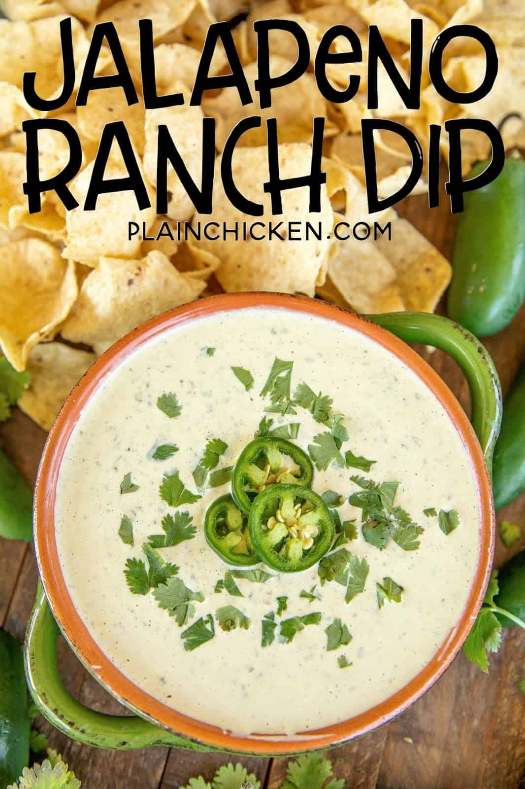 jalapeno ranch dip on a table with chips