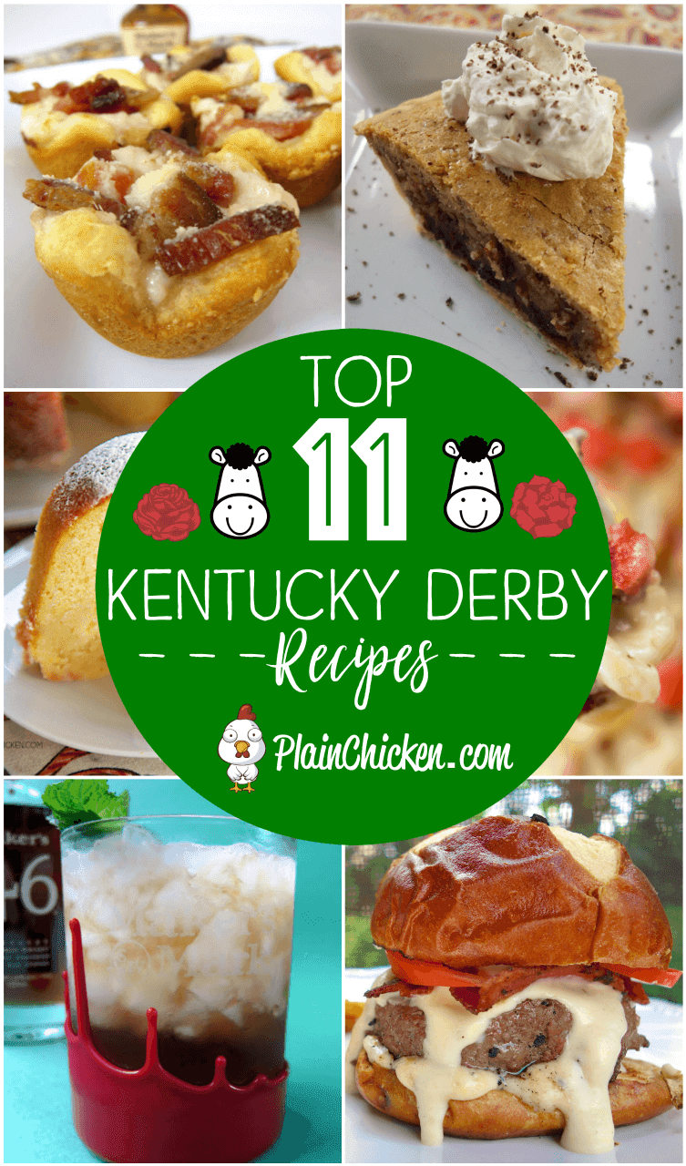 Top 11 Kentucky Derby Recipes - essential recipes for your Kentucky Derby watch party! Mint Julep, Derby Pie, Kentucky Hot Browns! Something for everyone! #appetizers #kentuckyderby #poundcake #turkeyrecipes