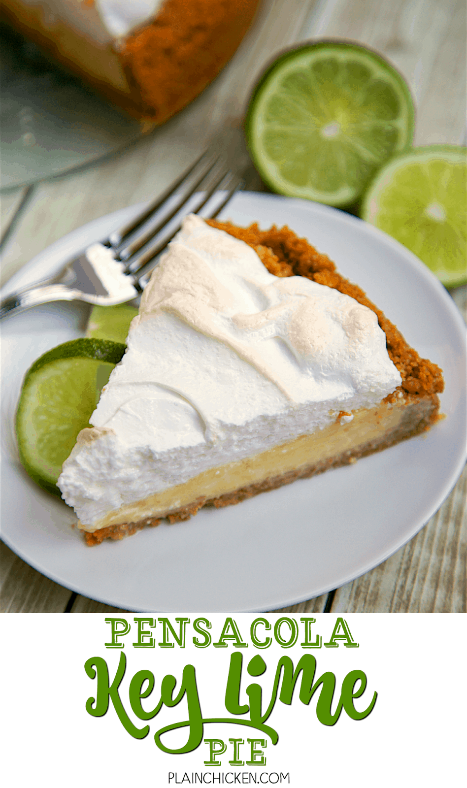 Pensacola Key Lime Pie - recipe from The Fish House in Pensacola Florida. Seriously THE BEST Key Lime Pie recipe. Everyone raves about this pie! Homemade graham cracker crust, key lime juice, eggs, sweetened condensed milk. Can top with meringue or fresh whipped cream. Either way is delicious! SO simple, but SO good!! This never lasts long and everyone wants the recipe!