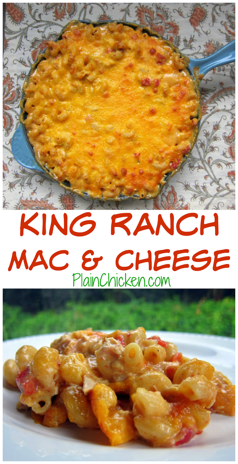King Ranch Mac and Cheese Recipe- best dish ever! Pasta, chicken, chicken soup, sour cream, Velveeta, cheddar and Rotel - so addictive! He asked me to make it again, twice, while we were still eating it!