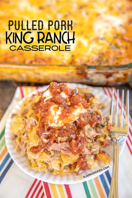 pulled pork king ranch casserole on a plate