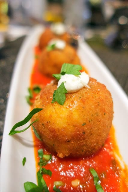 Arancini - Fried risotto balls stuffed with Kobe beef. SO good! Get this at Lavo in The Palazzo in Las Vegas