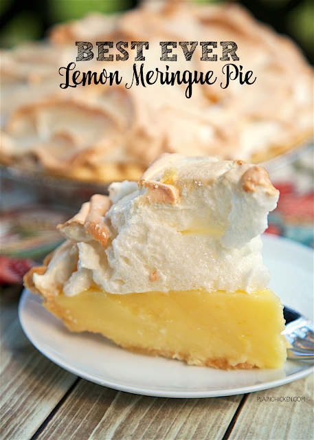 Best Ever Lemon Meringue Pie - homemade lemon pie topped with a quick homemade meringue. (sugar, cornstarch, eggs, milk lemon juice, butter, lemon zest) The pie is ready for the oven in about 10 minutes! This is seriously the BEST lemon meringue pie we've ever eaten! Great for summer cookouts!