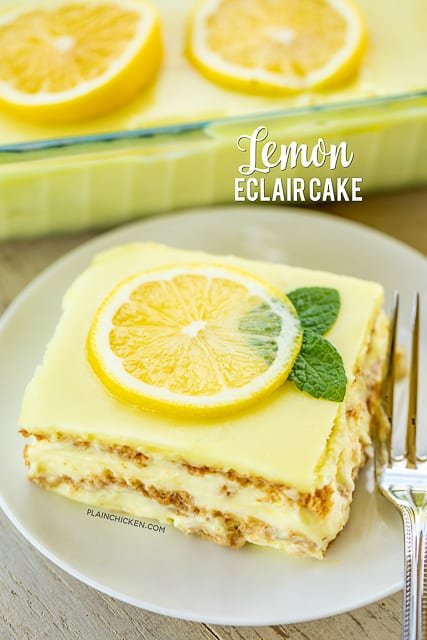 slice of lemon eclair cake