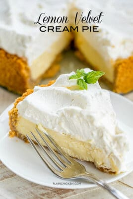 slice of lemon pie on a plate
