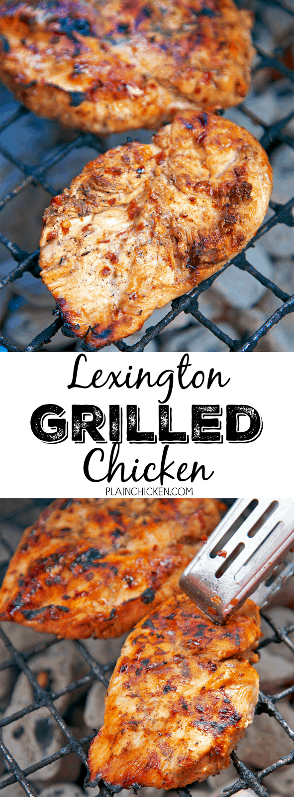 Lexington Grilled Chicken - sweet and tangy grilled chicken! Only 6 ingredients in the marinade - cider vinegar, brown sugar, oil, red pepper flakes, salt and pepper - Perfect for a cookout! Everyone raves about this chicken. There are never any leftovers!!
