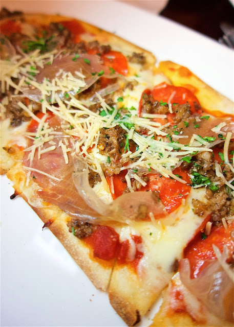 Meat Lovers Flatbread in Lobby Lounge at the Ritz Carlton Amelia Island - crazy good!