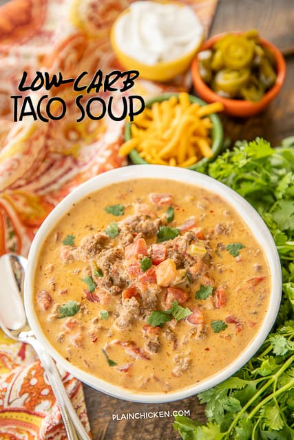 Low-Carb Taco Soup - SO good! I wanted to lick the bowl!! If you aren't doing low-carb, feel free to add corn and black beans. Ground beef, taco seasoning, Ranch dressing mix, diced tomatoes and green chilies, cream cheese, Velveeta, beef broth. Just dump every in the crock pot and dinner is done. Can freeze leftovers for a quick meal later. This soup is seriously delicious!! #crockpot #slowcooker #soup #taco #lowcarb