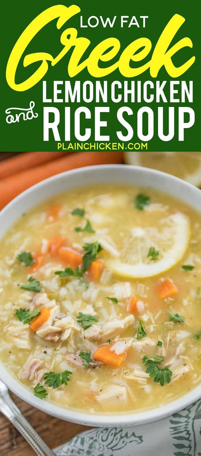 Low Fat Greek Lemon Chicken & Rice Soup - seriously the most delicious chicken soup EVER! Ready in 20 minutes! Chicken, chicken broth, carrots, celery, Greek seasoning, cream of chicken soup, garlic, lemon juice and rice. Made this for dinner and everyone could not stop raving about it! We make this at least twice a month now. Can freeze leftovers. #chickensoup #soup