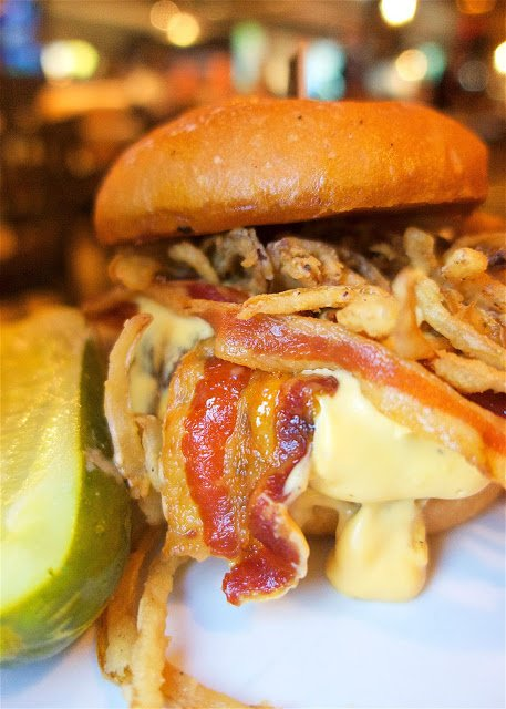 B.C.B. (BACON CHEESE BURGER) Applewood smoked bacon, onion straws, beer cheddar sauce - from LVB Burgers and Bar at The Mirage in Las Vegas