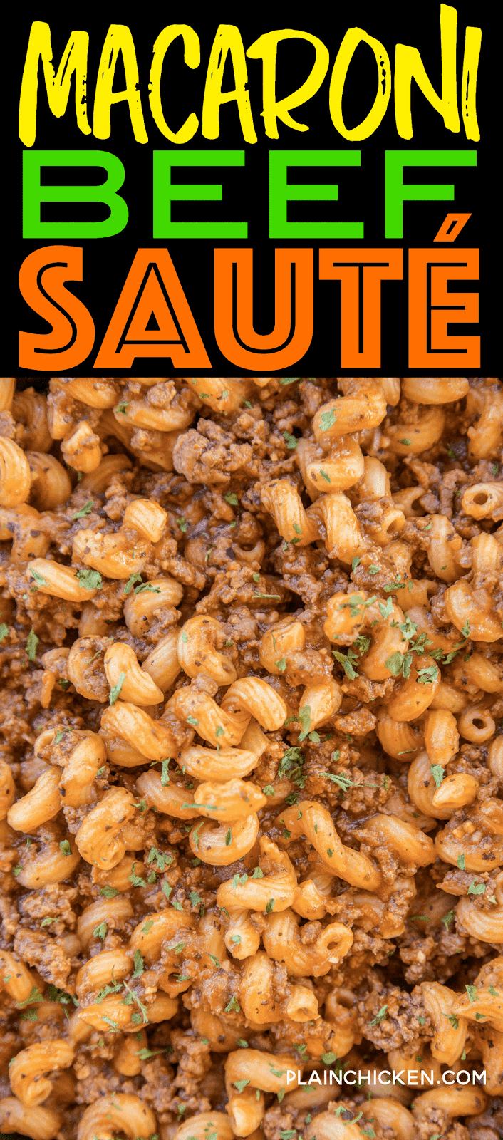 Macaroni Beef Sauté - everything cooks in the same skillet. Ready in 20 minutes! Ground beef, macaroni, onion, garlic, basil, Italian seasoning, red pepper, Worcestershire sauce and tomato juice. A quick and easy weeknight meal that the whole family enjoys!!! #onepotmeal #easydinner #kidfriendlydinner #beef