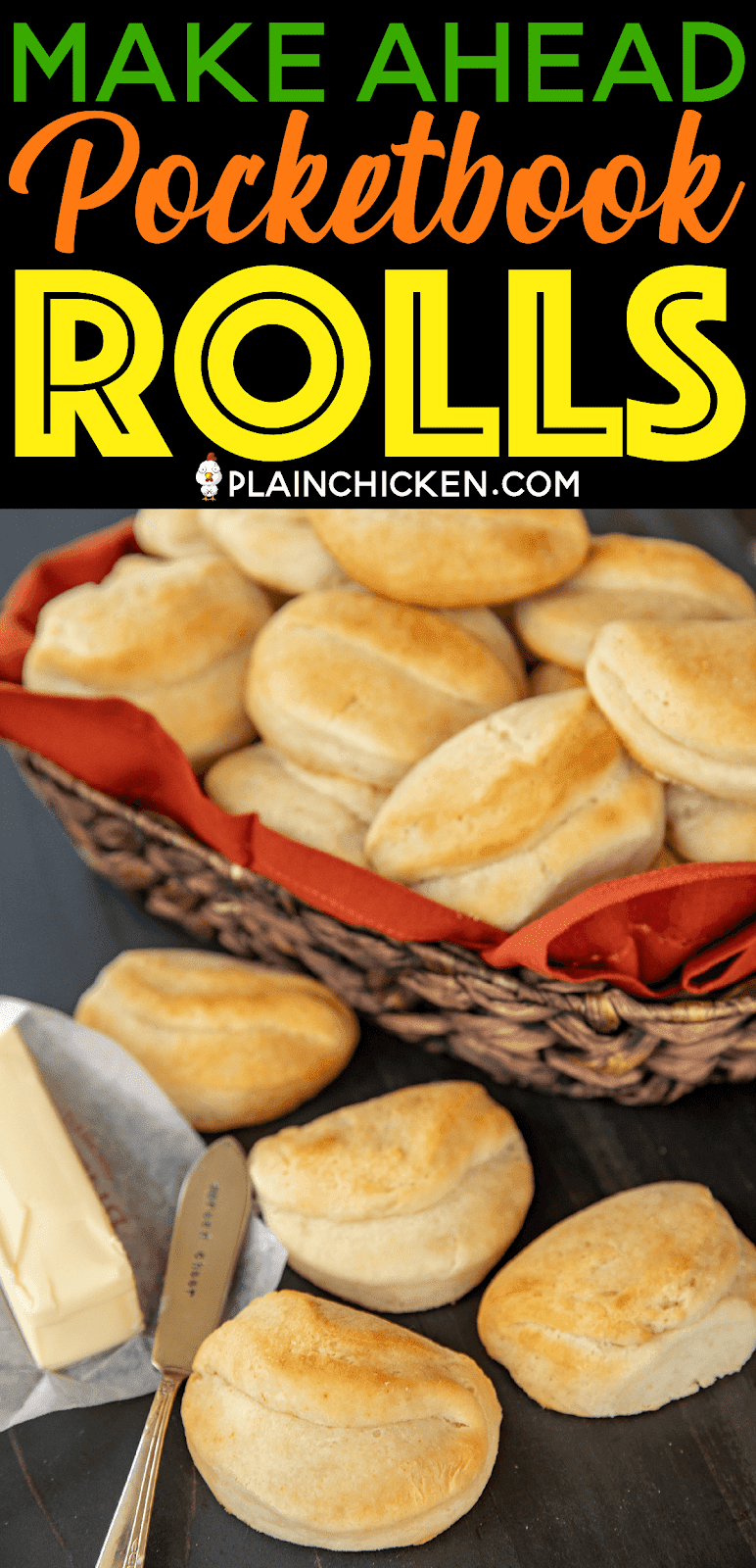 Make Ahead Pocketbook Rolls - dough will keep for 2 weeks in the refrigerator!! Great make ahead side for your holiday meals!!! SO light and fluffy. Yeast, water, self-rising flour, baking soda, sugar, shortening, buttermilk and melted butter. Everyone goes crazy over these yummy rolls. #rolls #bread #makeahead
