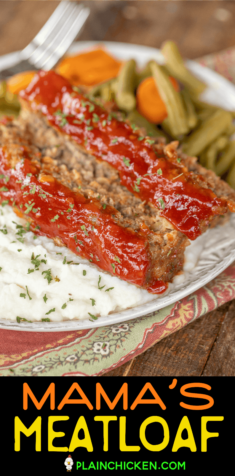 meatloaf and mashed potatoes on a plate