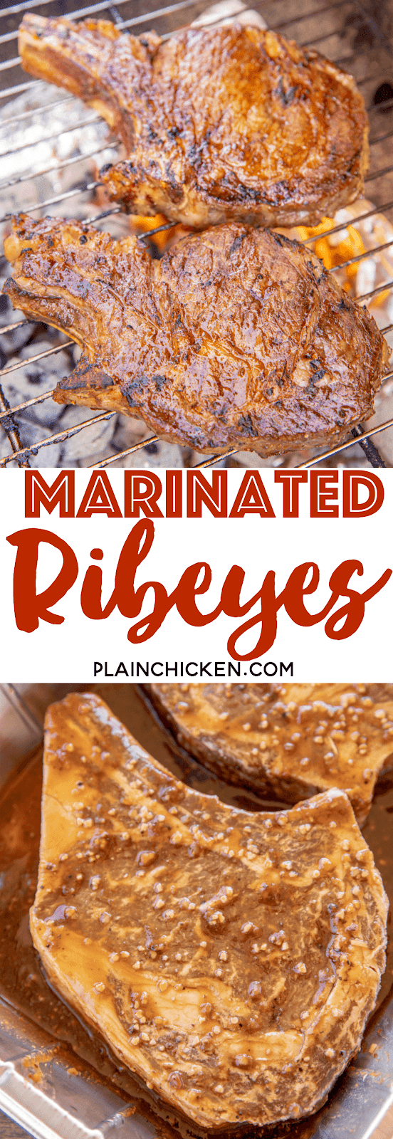 Marinated Ribeyes - the most flavorful steaks we've ever eaten!!! Marinate the ribeyes in a mixture of BBQ sauce, Worcestershire sauce, steak sauce, red wine vinegar, soy sauce, steak seasoning, hot sauce, pepper and garlic. Marinate a few hours to overnight. These steaks were better than any restaurant! YUM! #grill #ribeye #steak #marinade #steakmarinade #grilling