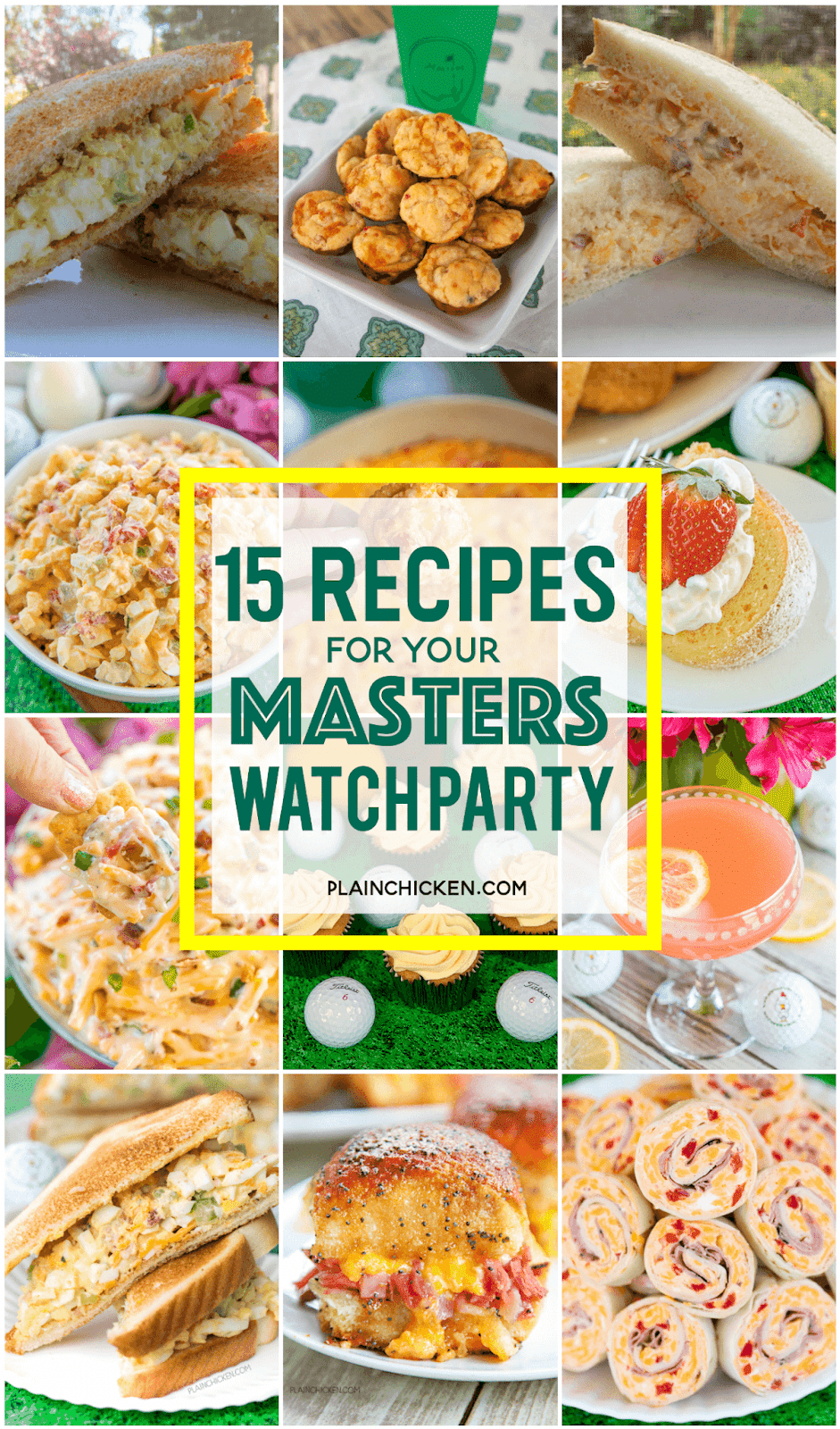 Collage of recipes for watching the masters golf tournament