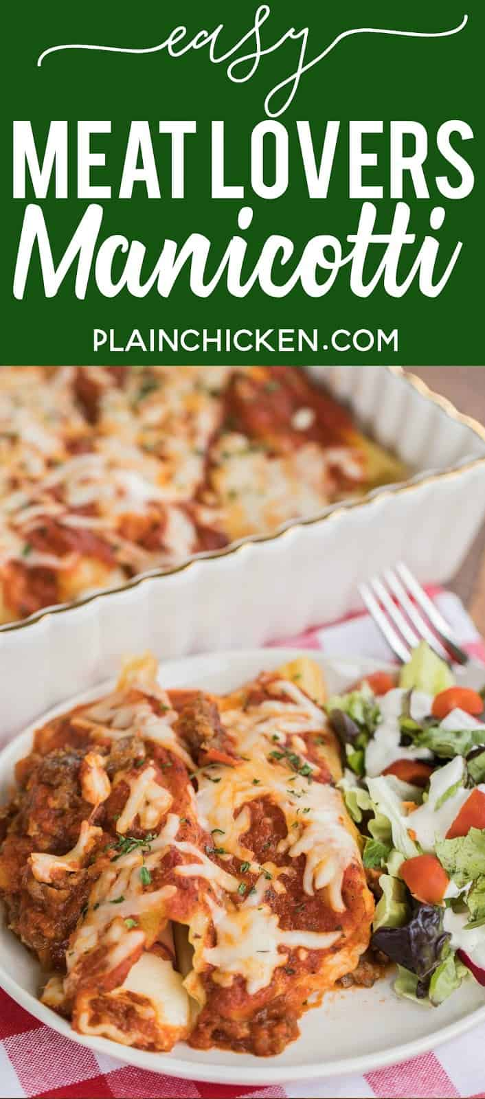 Easy Meat Lovers Manicotti Recipe - manicotti stuffed with cheese, ham and pepperoni and baked in a quick meat sauce. Super easy and DELICIOUS stuffed pasta casserole. Use string cheese to easily stuff cooked manicotti noodles. Can make ahead and refrigerate or freeze for later. All you need is a salad and some garlic bread for a quick weeknight meal!! #casserole #manicotti #pastacasserole #bakedpasta #freezermeal #makeaheadmeal