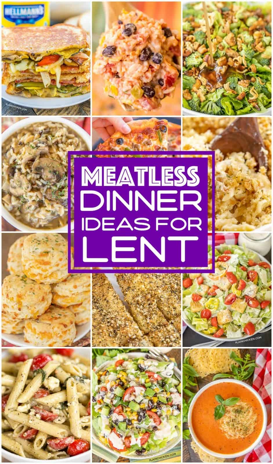 collage of 12 meatless foods