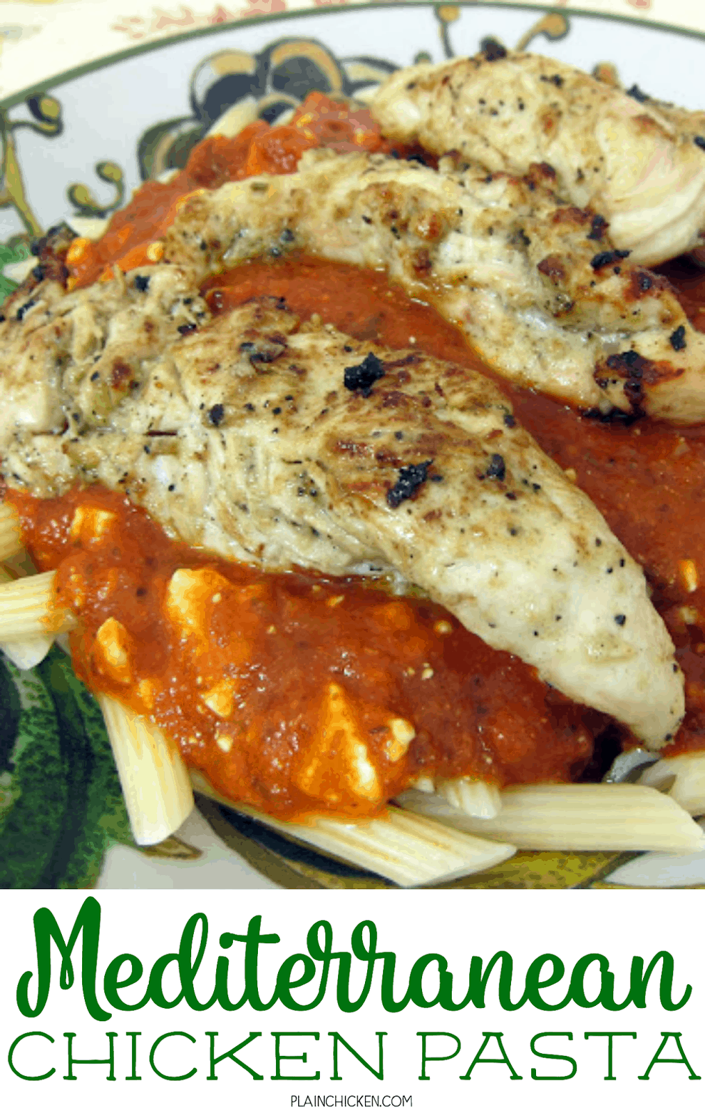 Mediterranean Chicken Pasta - Greek marinated grilled chicken served on top of pasta, marinara and feta. The chicken was so tender and delicious! Everyone loved this simple pasta dish! Serve with a salad and some crusty garlic bread.