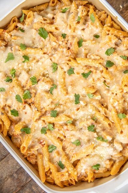 chicken pasta casserole in a baking dish