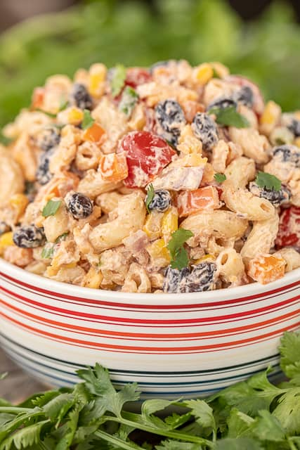 mexican pasta salad in a bowl