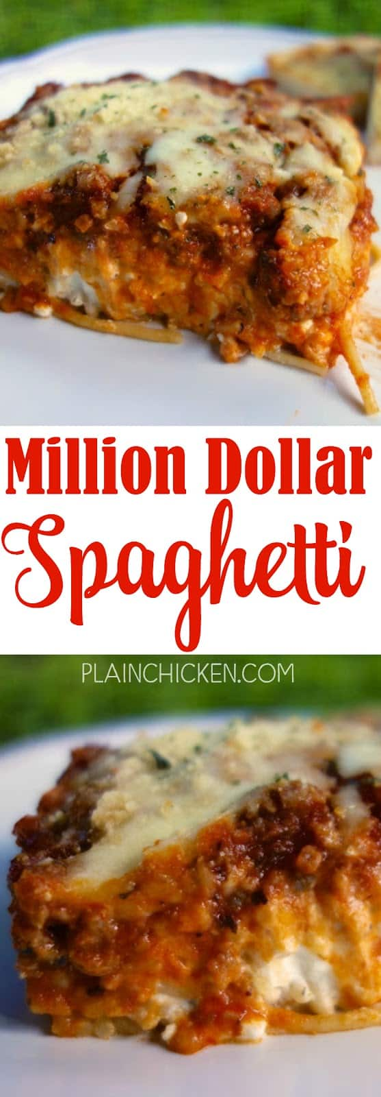 Million Dollar Spaghetti recipe - tastes like a million bucks! Great freezer meal too! Spaghetti, meat sauce, cottage cheese, cream cheese, sour cream and mozzarella. EVERYONE cleaned their plates and asked for seconds. Even our picky eaters!! This is definitely going into the rotation.