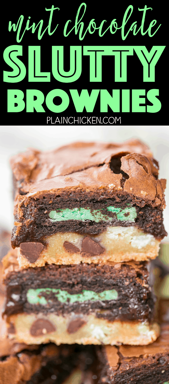 Mint Chocolate Slutty Brownies - seriously delicious! SO easy! Chocolate chip cookie dough topped with mint oreos and mint brownie batter. I could eat the entire pan! Fun treat for St. Patrick's Day!!