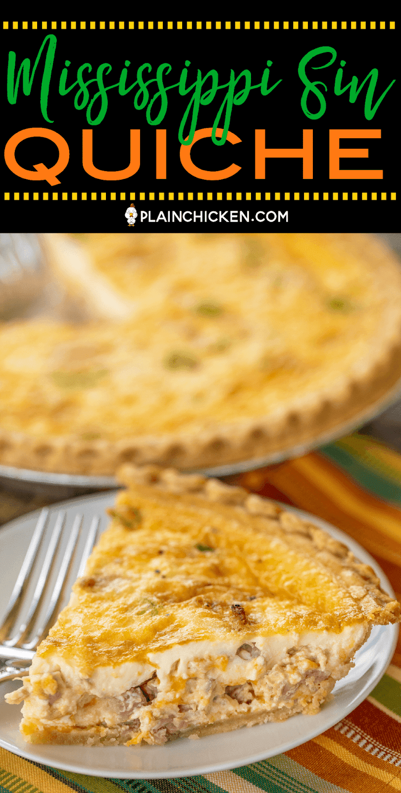 Mississippi Sin Quiche - all the flavors of our favorite dip in a quiche! Can make ahead and refrigerate or freeze for later. Ham, cream cheese, cheddar cheese, worcestershire sauce, green onion, hot sauce, sour cream, eggs, milk, pie crust. Everyone LOVED this delicious quiche!! I always double the recipe because this doesn't last long. SO good! #quiche #mississippisin #ham #breakfast #freezermeal