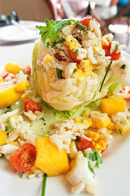 Corn and Crab Salad with chickpea croutons and green goddess dressing from Paris Hotel in Las Vegas
